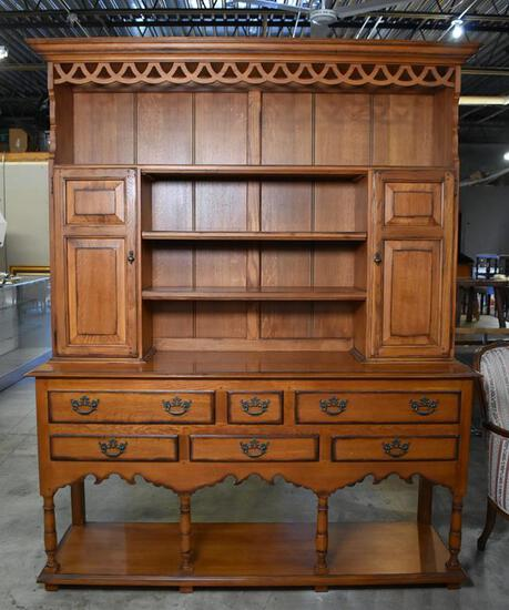 """Wonderful Drexel Heritage """"Royal Country Retreats"""" Cherry Sideboard & Hutch with Silver Drawer"""