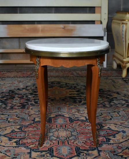Attractive Small Marble Top Round Satinwood Accent Table