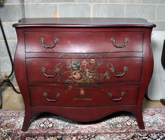 Beautiful Dark Red Bombe Chest with Painted Floral Decoration