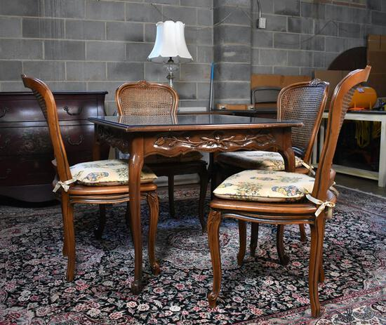 Finely Carved Walnut Game Table with Protective Glass Top Cover, Cabriole Legs, Rose Carved Skirts