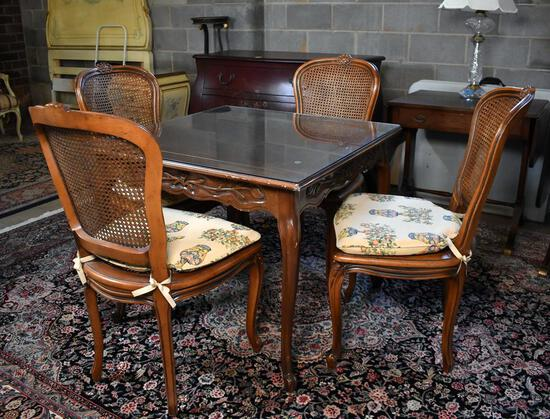 Set of 4 Beautifully Carved Walnut Side Chairs with Caned Backs & Seats and Seat Cushions