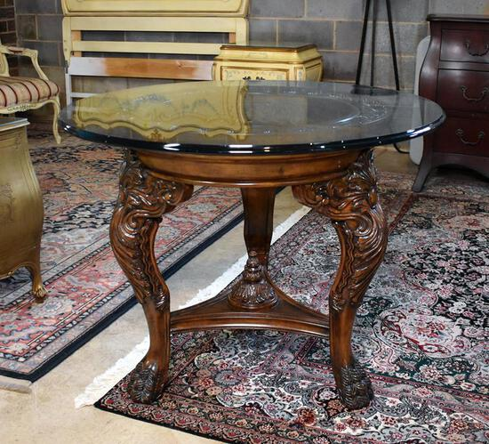 Remarkable Centerpiece Round Table with Heavy Carved Legs & Paw Feet, Heavy Glass Top