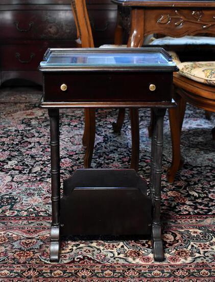 Quaint Black Bedside Nightstand and Magazine Rack