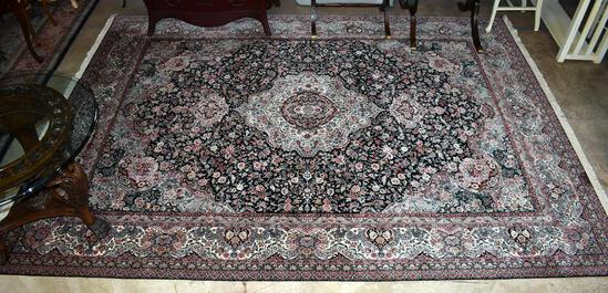 Fine Black & Red Heriz Hand Knotted Wool Rug