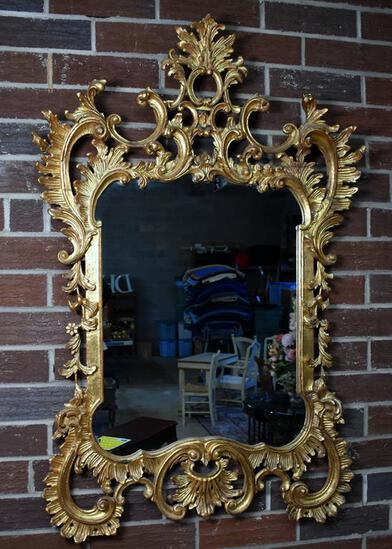 Beautiful Gilded Baroque Pier / Entry Mirror