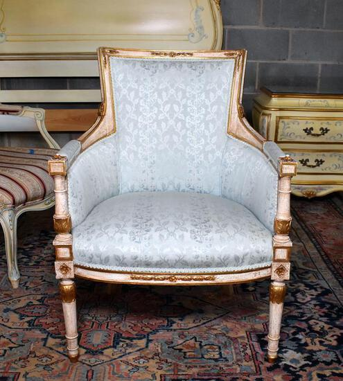 Elegant Light Finish with Blue Satin Upholstery Armchair (Lots 5 & 6 Match)