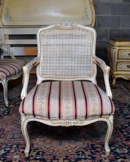 Pretty Light Finish Caned Back Armchair (Lots 9 & 10 Match)