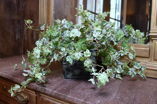 Decorative Faux Ivy in Metal Planter Box