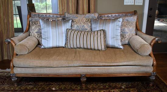 Contemporary Carved Light Wood Sofa with Pillows by Century Furniture, Sofa Lots 13 & 16 Match