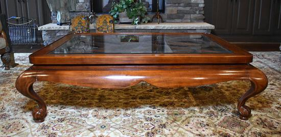 Fine Glass Top Over Wooden Grillwork Coffee Table, Cabriole Legs