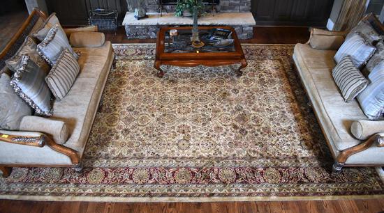 Beautiful Large Wool Cream & Sage Persian Style Rug
