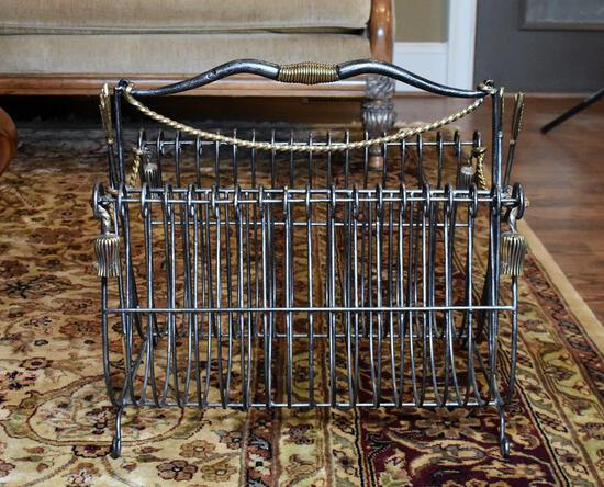 Contemporary Metal with Gilt Brass Trim Campaign Style Magazine Rack