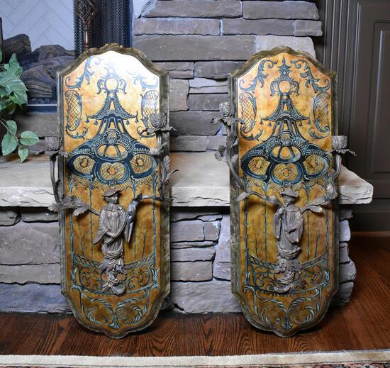 Pair of Decorative Chinoiserie Wall Plaques by Castilian