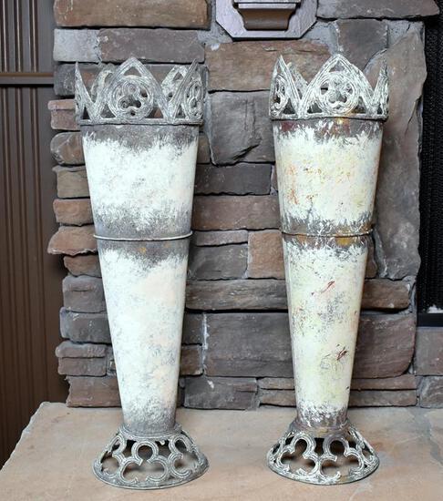 Pair of  Chalk Painted Metal Mantle Vases