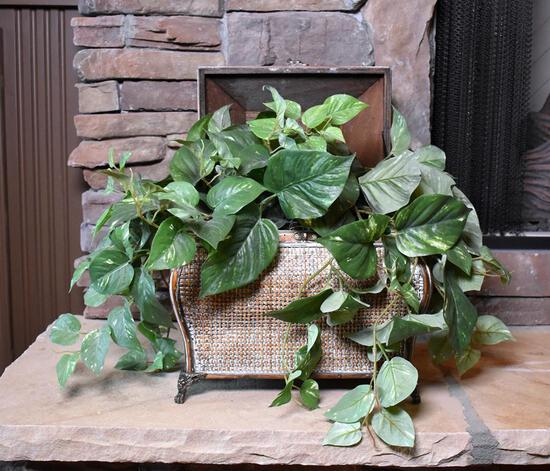 Decorative Faux Ivy in Metal Planter with Woven Style Decorative Lidded Box