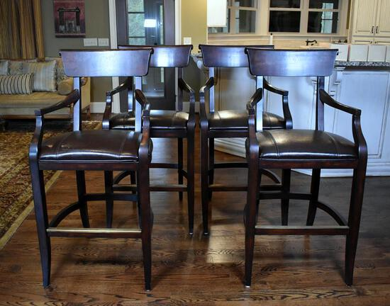 Set of Four Contemporary Bar Seats with Bonded Leather Seats