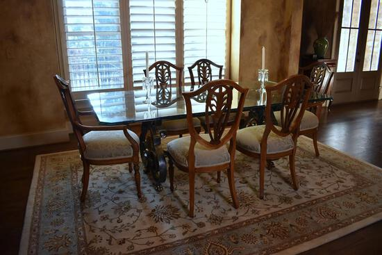 Stunning Contemporary Glass Top on Metal Base Dining Table; Brass Trim Paw Feet, Shell Side Sconces