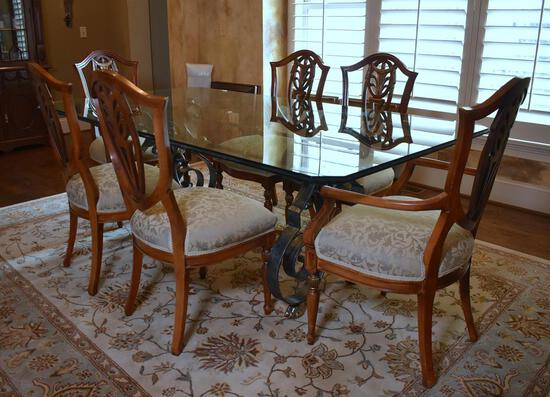 Set of Six Shield Back with Gilt Trim Mahogany Dining Chairs, Neutral Damask Upholstered Seats
