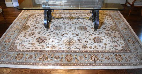 "Capel 100% Wool ""Providence/Zeigler"" Cream & Sage Light Blue Persian Style Rug"