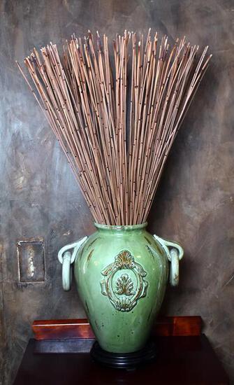 Green Glaze Ceramic Vase with Reeds