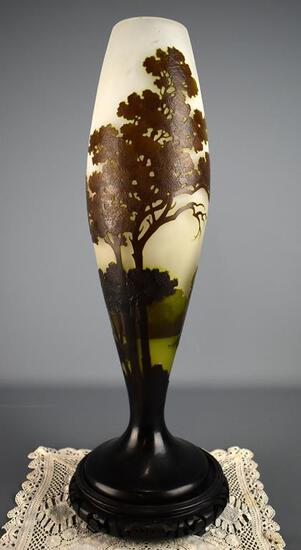 Elegant Emile Galle (French, 1846-1904) Art Nouveau Cameo Tree Vase