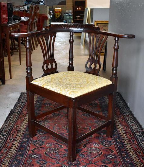 Fine 19th C. Carved Walnut Corner Chair