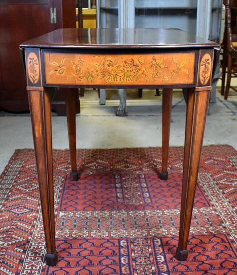 Early 19th C. Mahogany with Floral Marquetry Pembroke Table