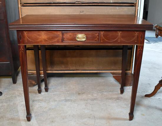 Elegant Late 18th – Early 19th C. Inlaid Mahogany Hepplewhite Gateleg Game Table