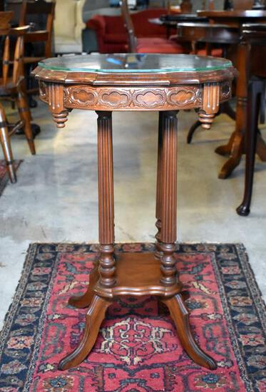 Antique Eastlake Style Reeded Column Side Table w/ Glass Cover