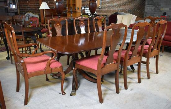 Antique Duncan Phyfe Style Mahogany Dining Table, Brass Caster Paw Feet, Attributed to Kittinger
