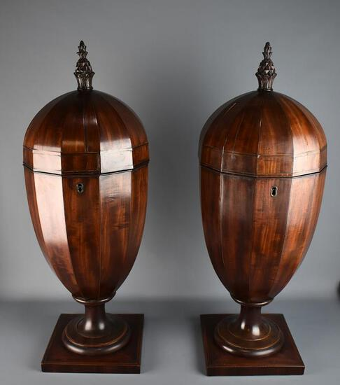 Fine Pair of Antique Edwardian Acorn Mahogany Knife Boxes