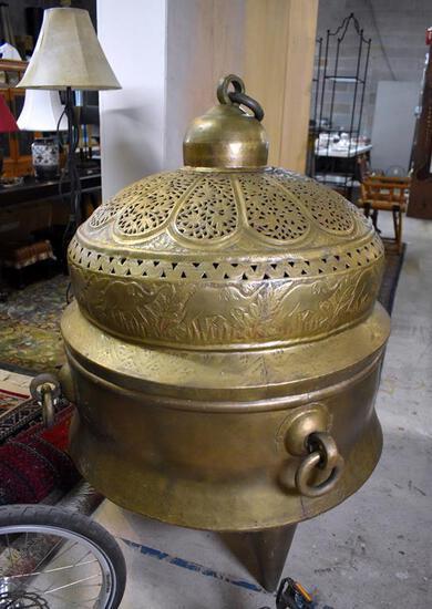 Remarkable Oriental Brass Brazier Censer with Elephant Train Decoration