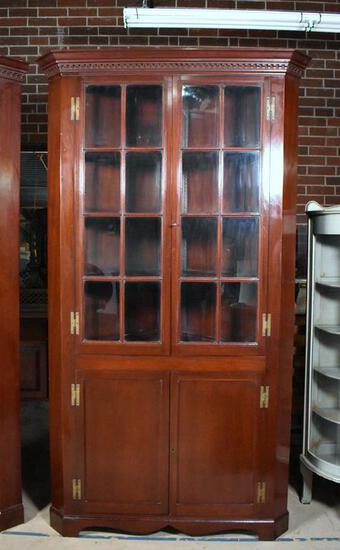 Antique Handmade Mahogany Tall Corner Cupboard with Dentil Molded Cornice (Lots 2 & 4 Match)