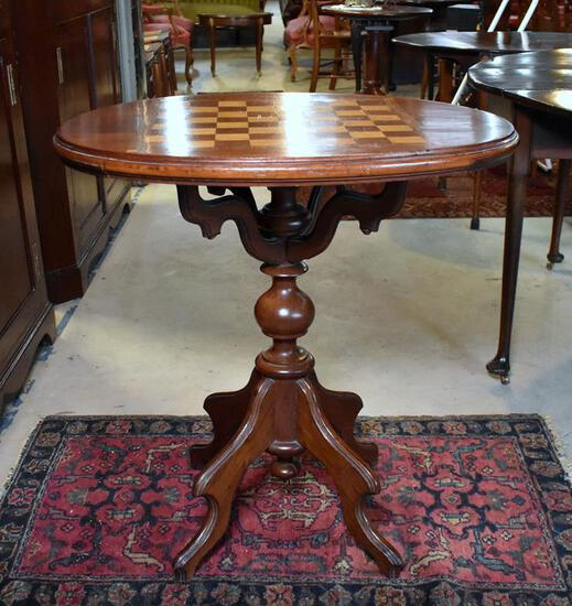 Antique Mahogany & Satinwood Checkerboard / Chess Oval Game Table on Pedestal