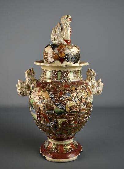 "Antique 14"" H Japanese Meiji Period Satsuma Moriage Lidded Jar, Foo Lion / Dog Handles & Finial"