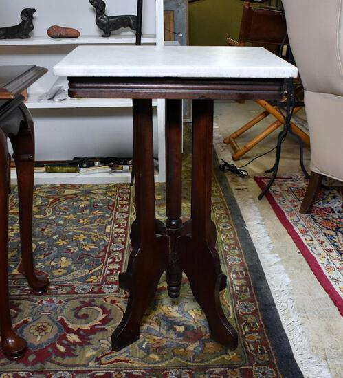 Antique Victorian Marble Top Walnut Side Table