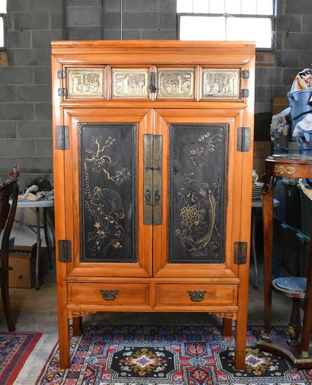 Beautiful Antique Oriental Hand Made Armoire
