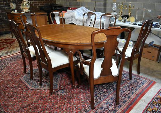 Set of 8 Queen Anne Style Mahogany Dining Chairs, 2 Master & 6 Sides with Roll New Matching Fabric