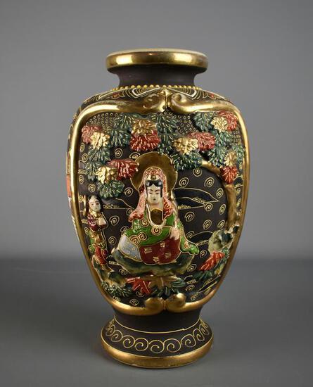 "Antique 12"" H Japanese Meiji Period Satsuma Moriage Vase"