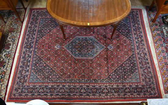 Beautiful Red and Blue Persian Style Handknotted Wool Rug
