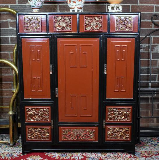 Elegant Black & Red Lacquer Chinoiserie Armoire