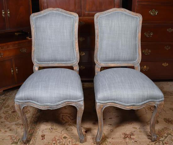 Pair of Contemporary Game Table Chairs w/ Custom Neutral Herringbone Upholstery