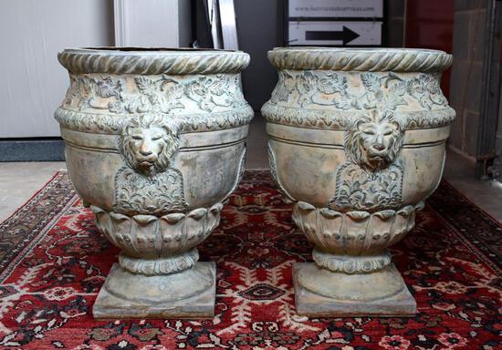 "Pair of Antique Patinated Solid Bronze Lion's Head Garden Urns, 18.5"" H"