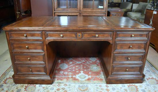 """""""The Ellis Line"""" by Sligh Executive Walnut Desk, Sectioned Leather Top"""