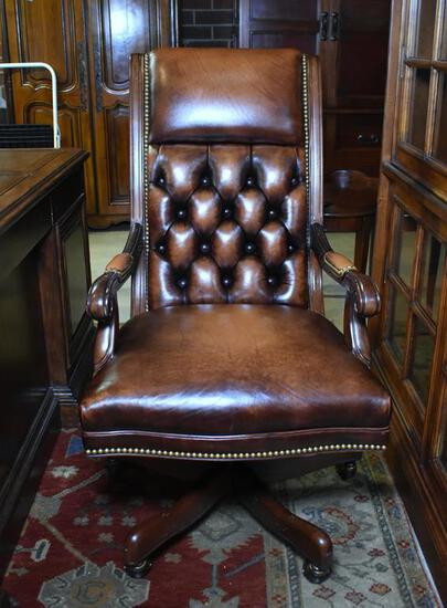 Hancock & Moore Tufted Leather Executive Desk Chair, Antique Brass Nailhead Trim