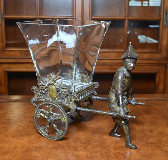 Castilian Imports Bronze Rickshaw Driver Executive Desk Vase