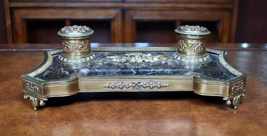 Black Marble & Brass Double Inkwell Inkstand