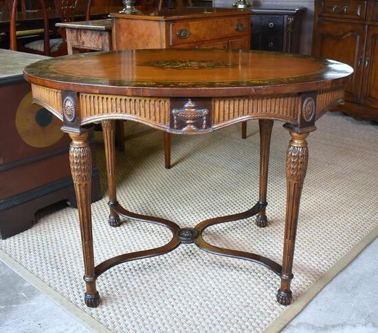 Notable Satinwood Oval Center Table Hand Painted Manner of Angelica Kauffman, English, 19th C.