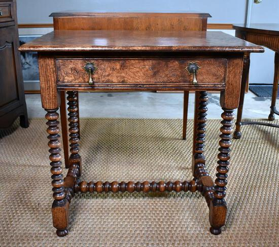 Unusual 19th C. Burl Oak Side Table, Turned Legs & Stretchers