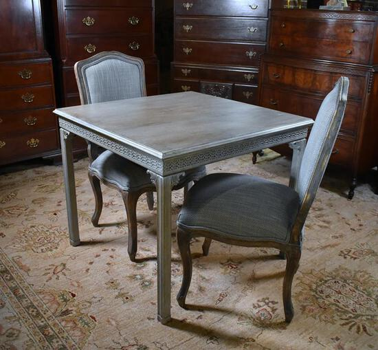Elegant Contemporary Neutral/ Green-Gray Painted Chinese Chippendale Style Game Table